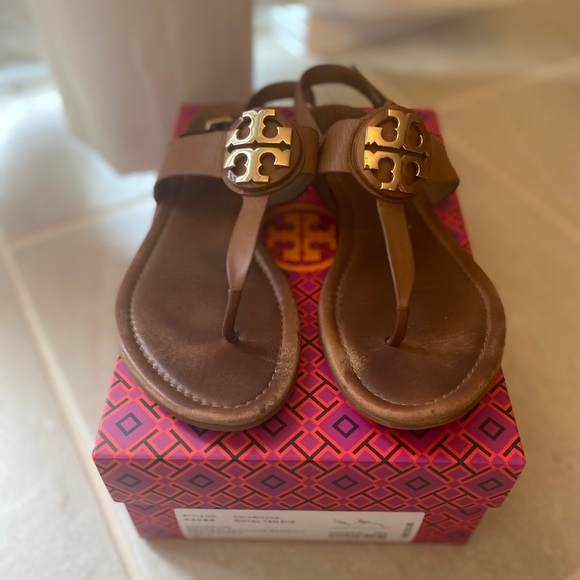 Tory Burch Bryce Flat Thong Sandal Leather Size 9